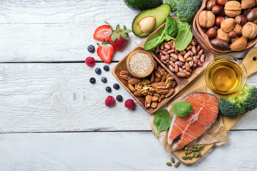 Array of healthy foods - how to enjoy retirement